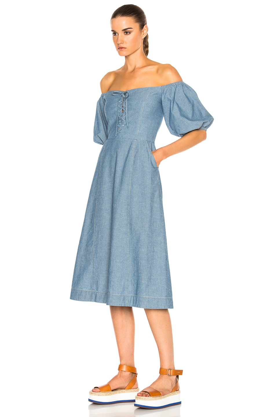 Image 2 of Sea Lace Up Maxi in Blue