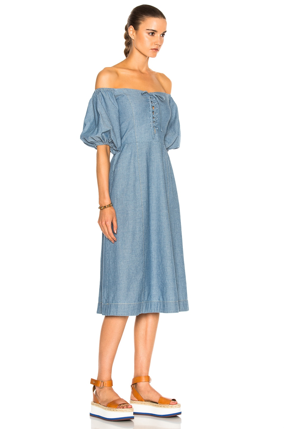 Image 3 of Sea Lace Up Maxi in Blue