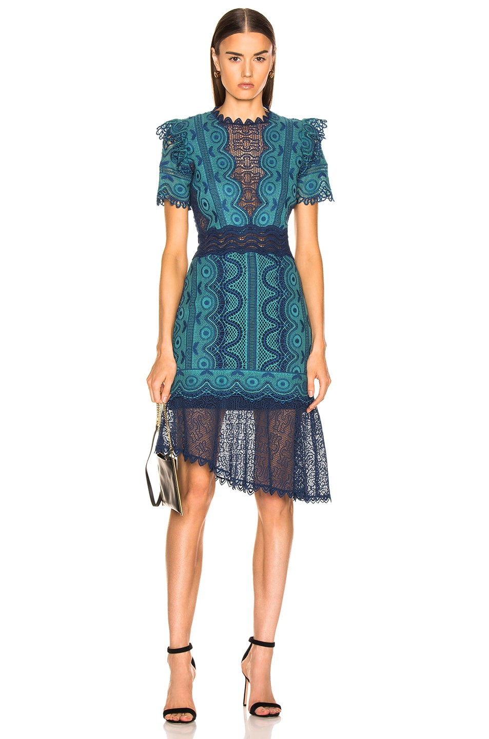 Image 1 of Sea Lola Lace Short Sleeve Dress in Teal Blue Multi