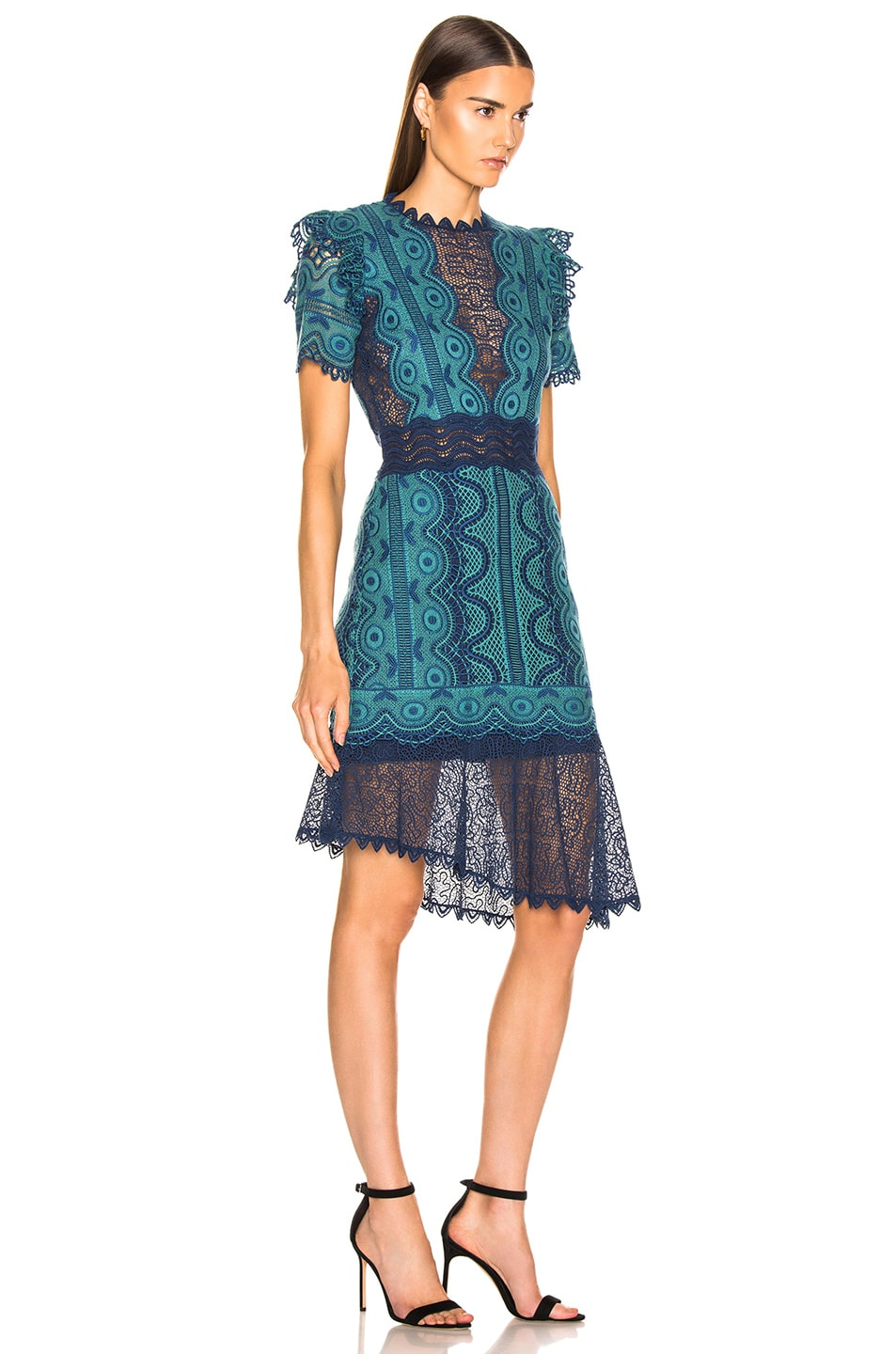 Image 2 of Sea Lola Lace Short Sleeve Dress in Teal Blue Multi