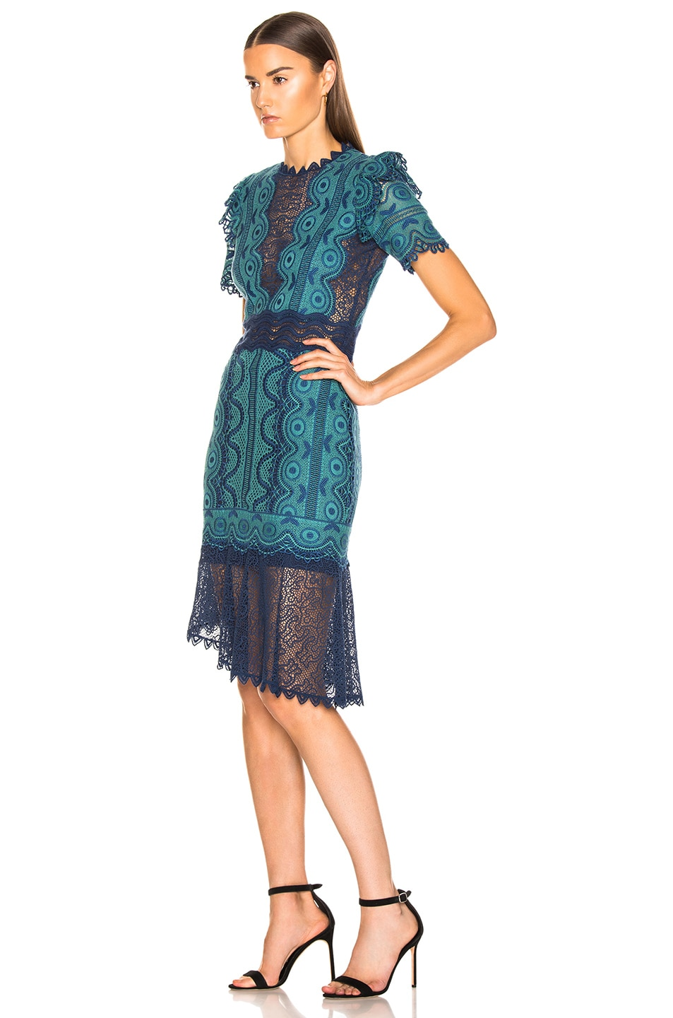 Image 3 of Sea Lola Lace Short Sleeve Dress in Teal Blue Multi