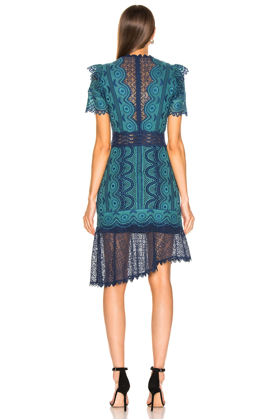Image 4 of Sea Lola Lace Short Sleeve Dress in Teal Blue Multi