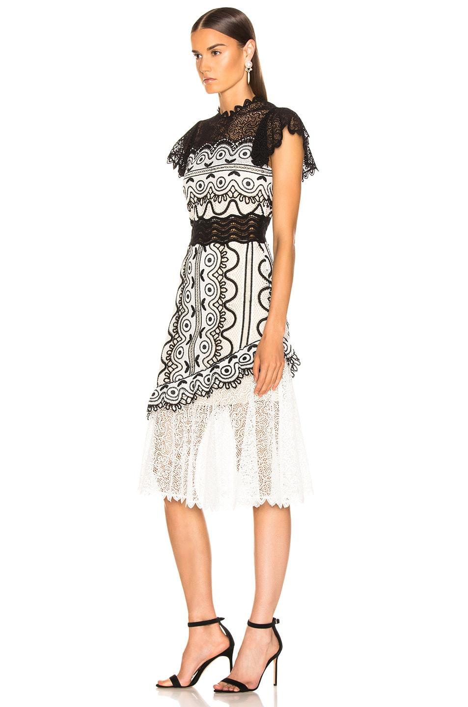 Image 3 of Sea Lola Lace Sleeveless Dress in Black & Cream Multi