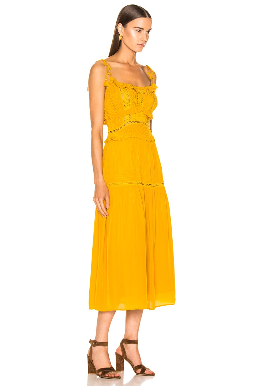 Image 2 of Sea Poppy Pintuck Sleeveless Dress in Mustard