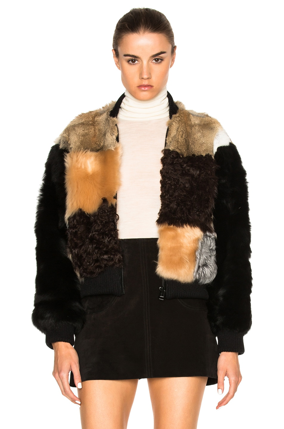 Image 1 of Sea Patchwork Fur Bomber Jacket in Multi