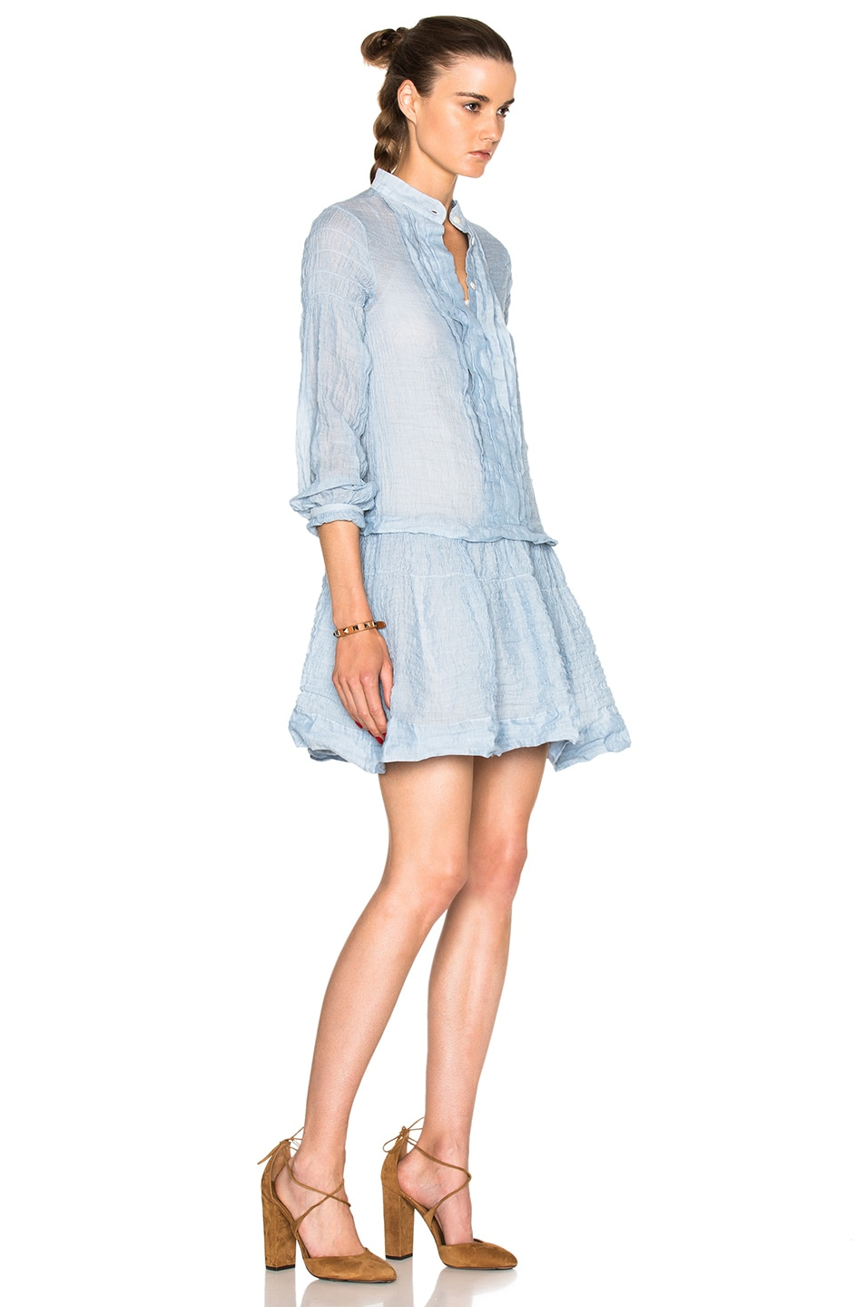 Image 3 of See By Chloe Cotton Gauze Mini Dress in Forever Blue
