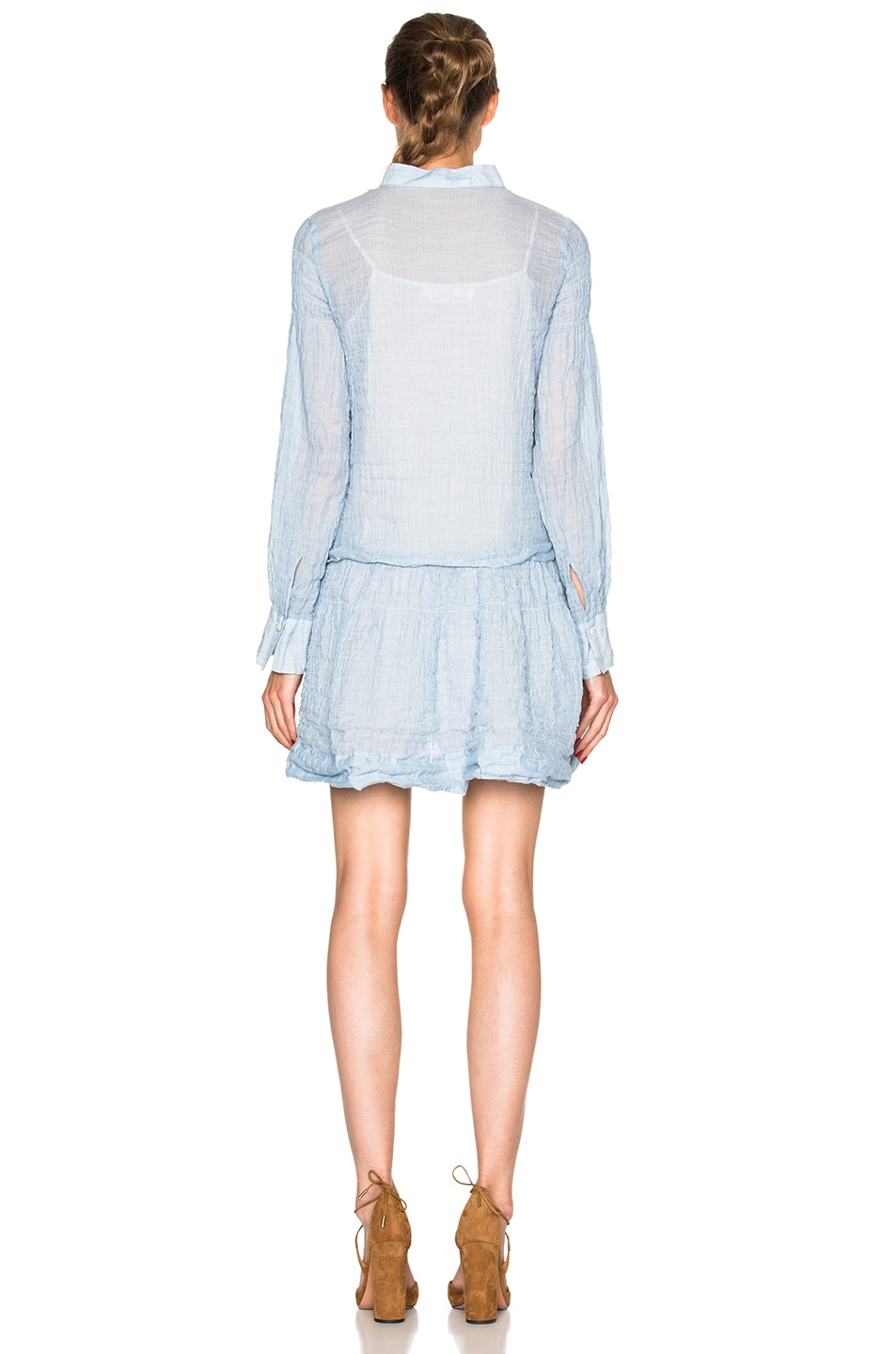 Image 4 of See By Chloe Cotton Gauze Mini Dress in Forever Blue
