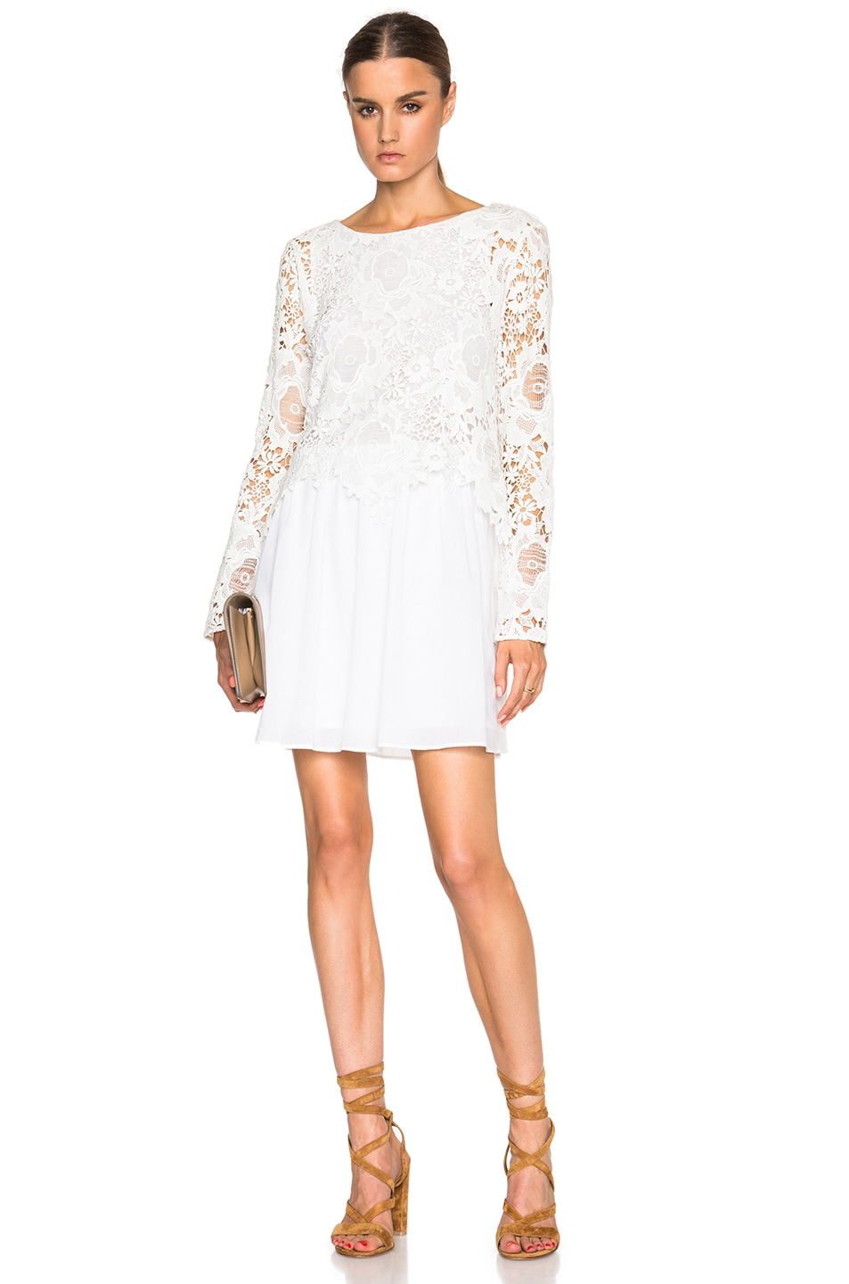 72bd6d9445 See By Chloe Lace Top Flare Dress in Cloud Dancer | FWRD
