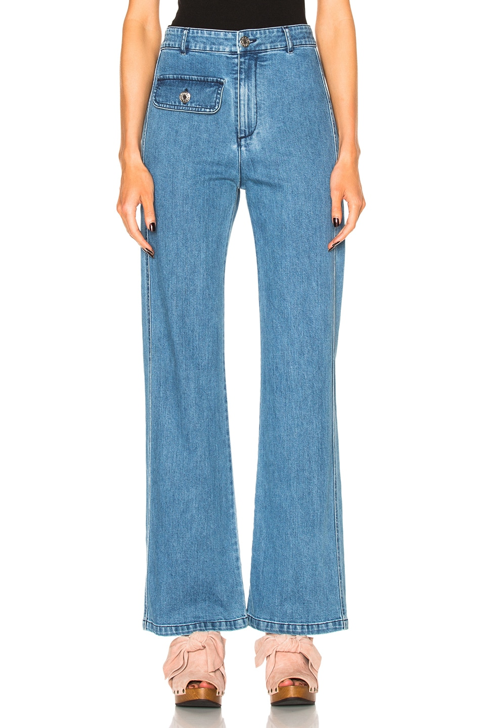 Image 1 of See By Chloe Wide Leg Denim Trousers in Washed Indigo