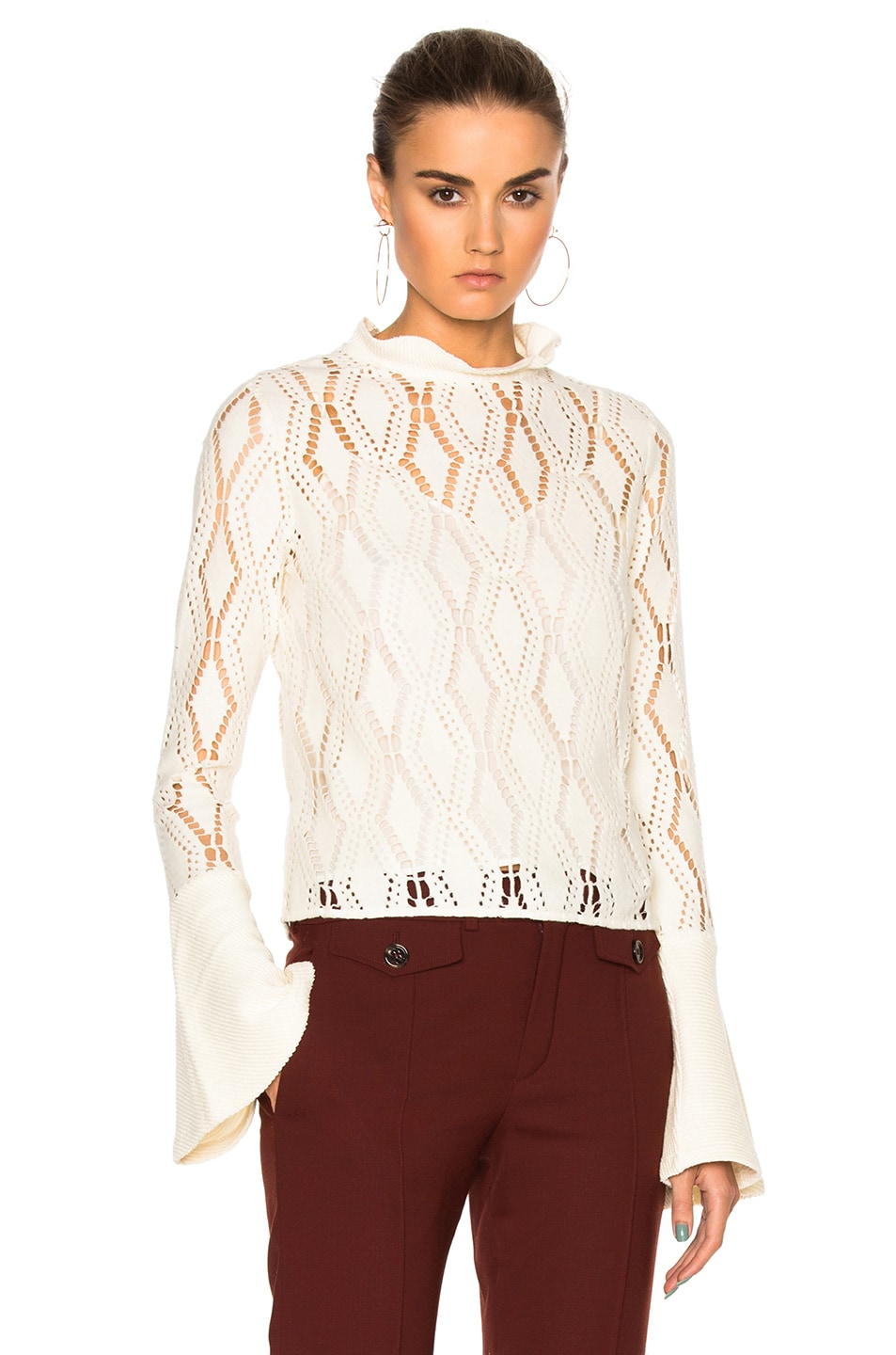 Image 1 of See By Chloe Bell Sleeve Sweater in Winter White