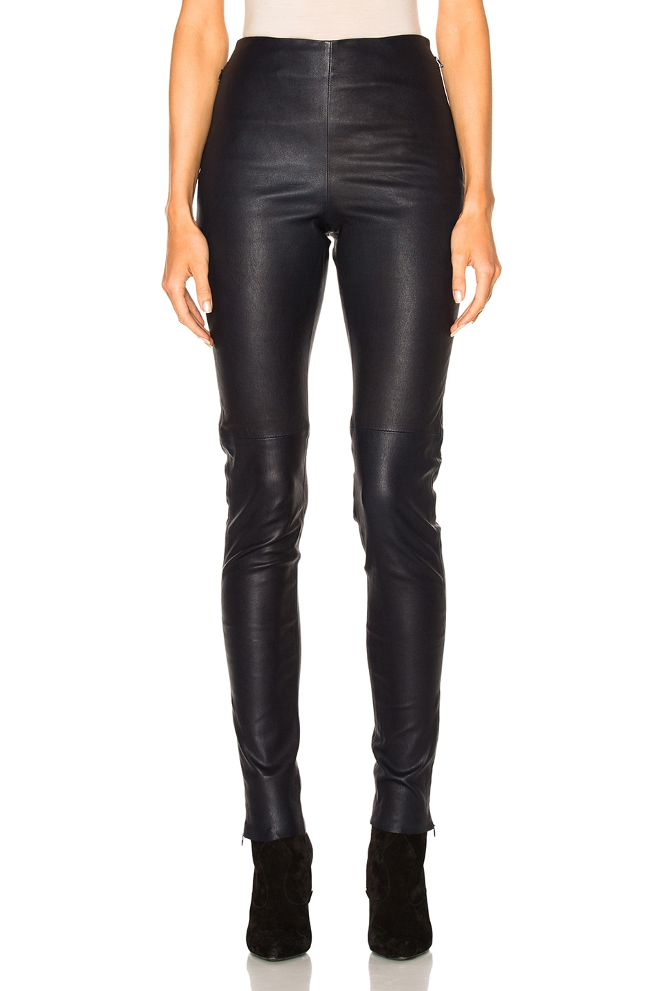 c6aff7579f Image 1 of See By Chloe Skinny Leather Pants in Navy