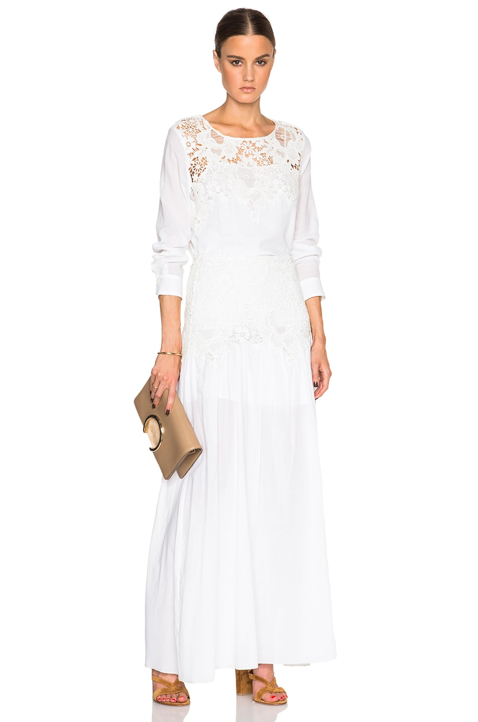 ccad5aa0 See By Chloe Lace Maxi Skirt in Cloud Dancer   FWRD
