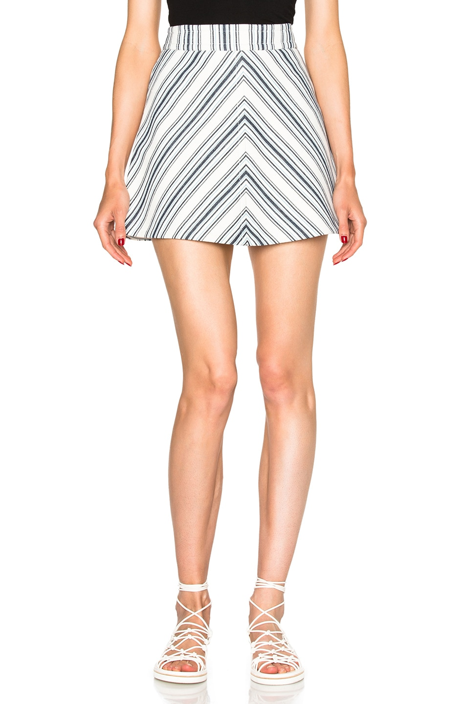 Image 1 of See By Chloe Striped Mini Skirt in Surfing Blue