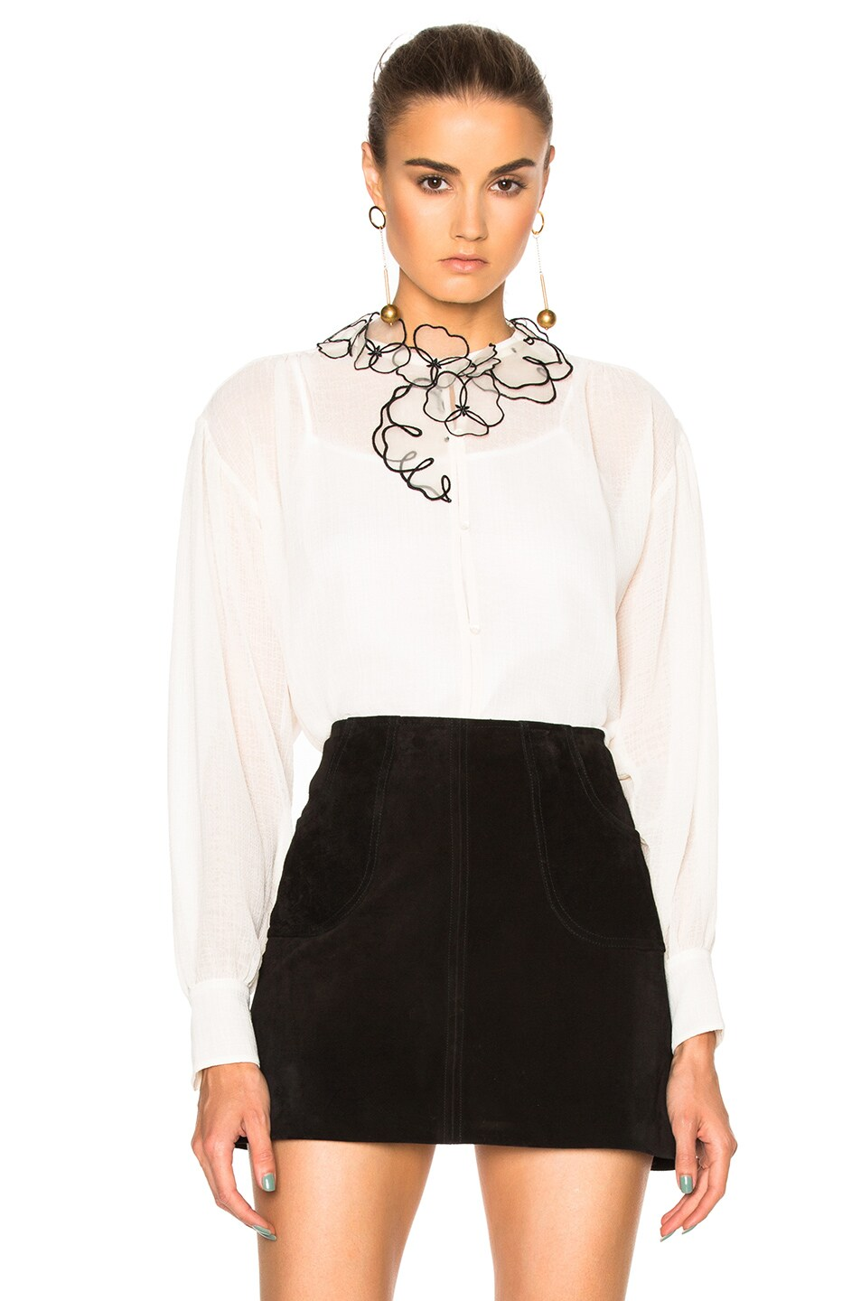 Image 1 of See By Chloe Sheer Button Up Top in Winter White