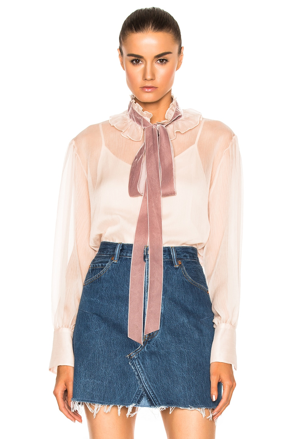 Image 1 of See By Chloe Tie Neck Blouse in Powder