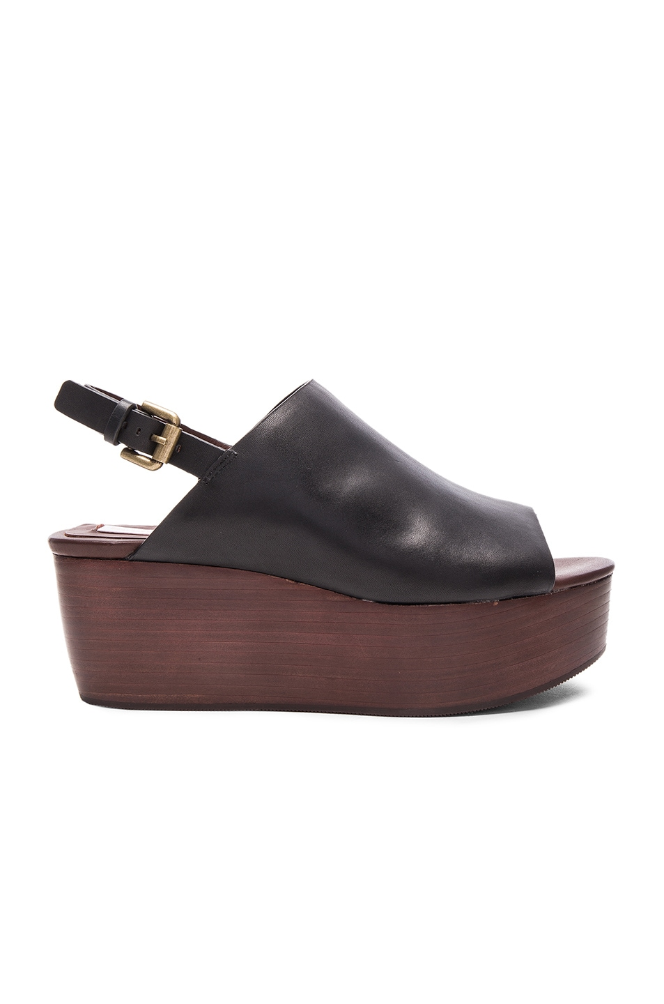 Image 1 of See By Chloe Leather Slingback Wedge in Black