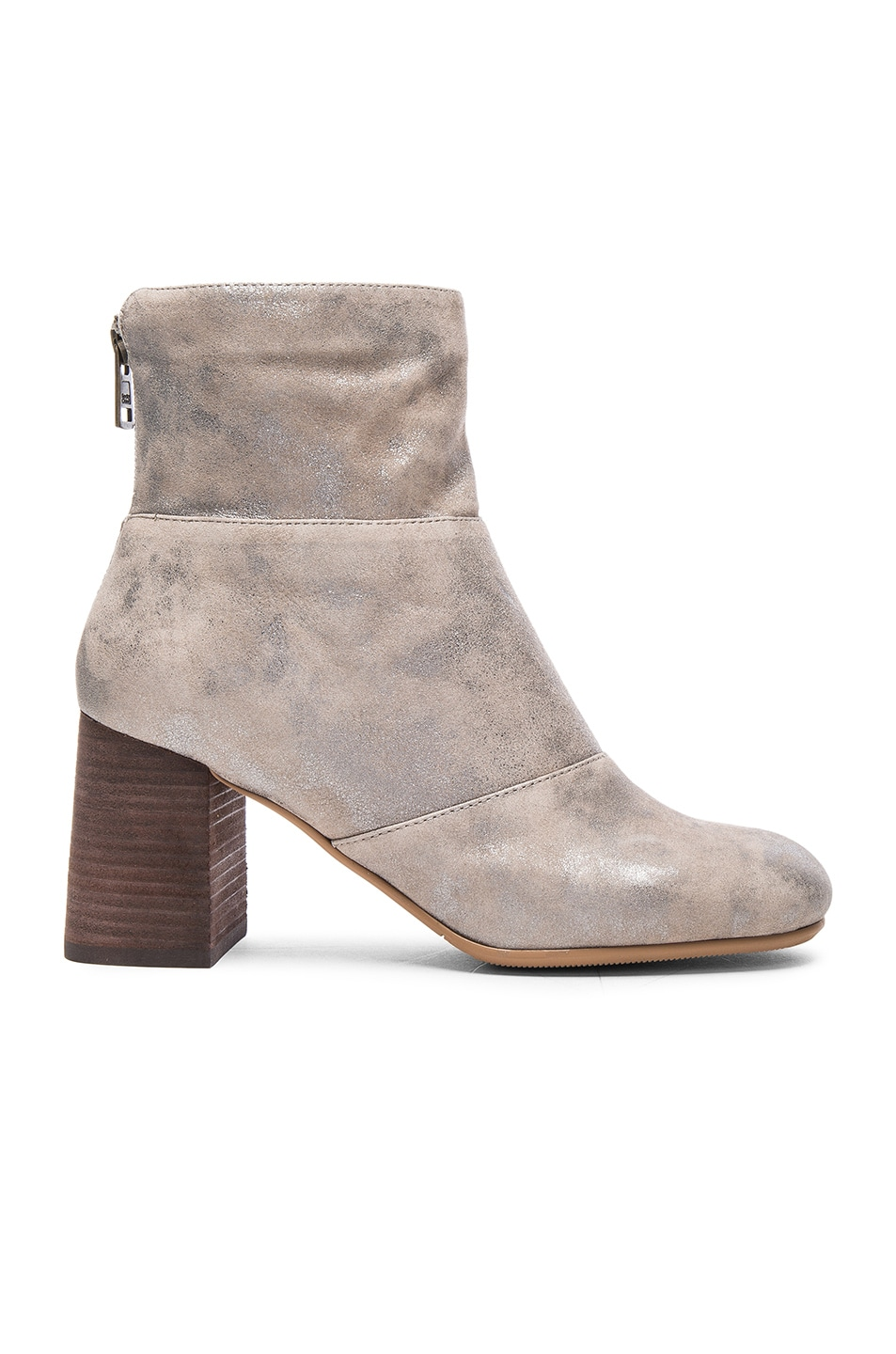 Image 1 of See By Chloe Suede Mila Booties in Pearl Silver Suede