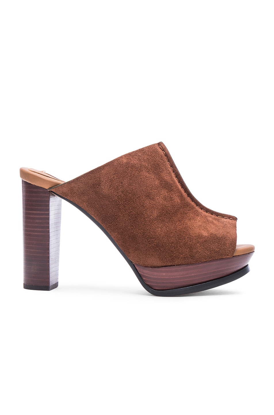 Image 1 of See By Chloe Suede Mule Platform Heels in Cola