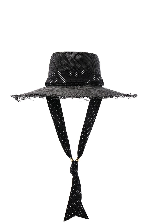 Image 1 of SENSI STUDIO Long Brim Boater Hat with Frayed Brim in Black & Polka Dots