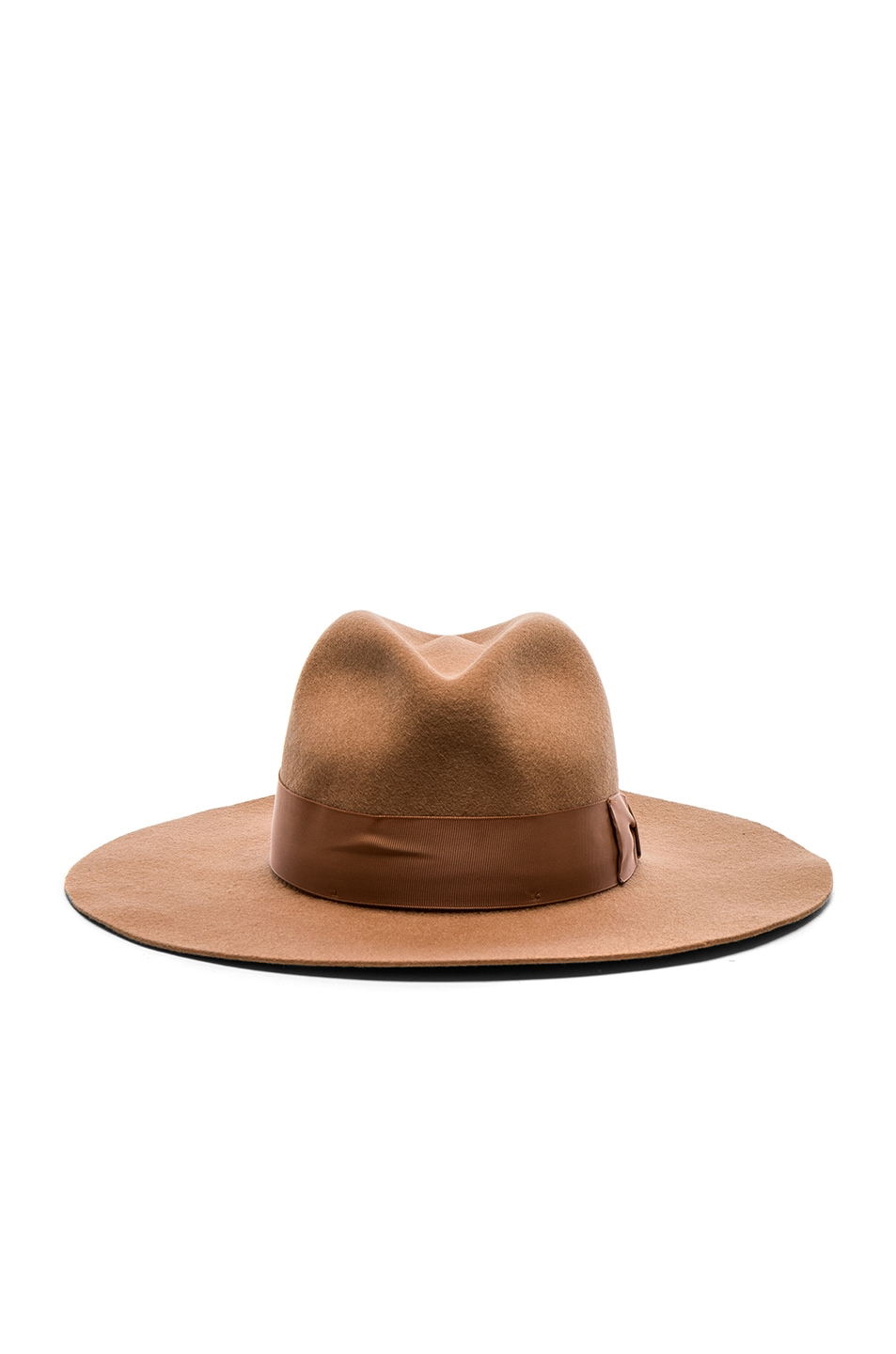 Image 1 of SENSI STUDIO Classic Long Brim Hat with Italian Bow Band in Caramel