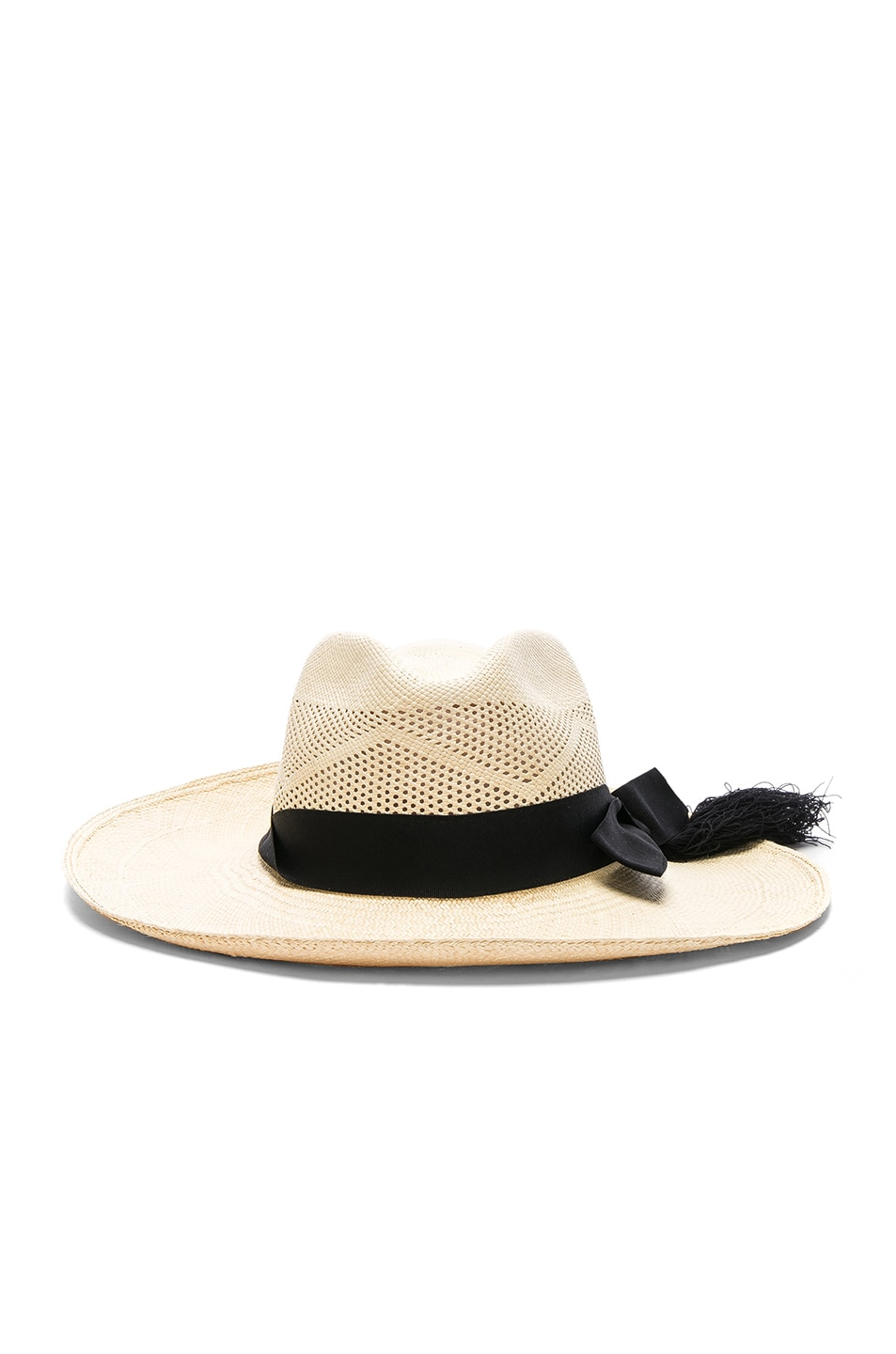 Image 1 of SENSI STUDIO Panama Hat Long Brim Calado Hat in Natural & Black