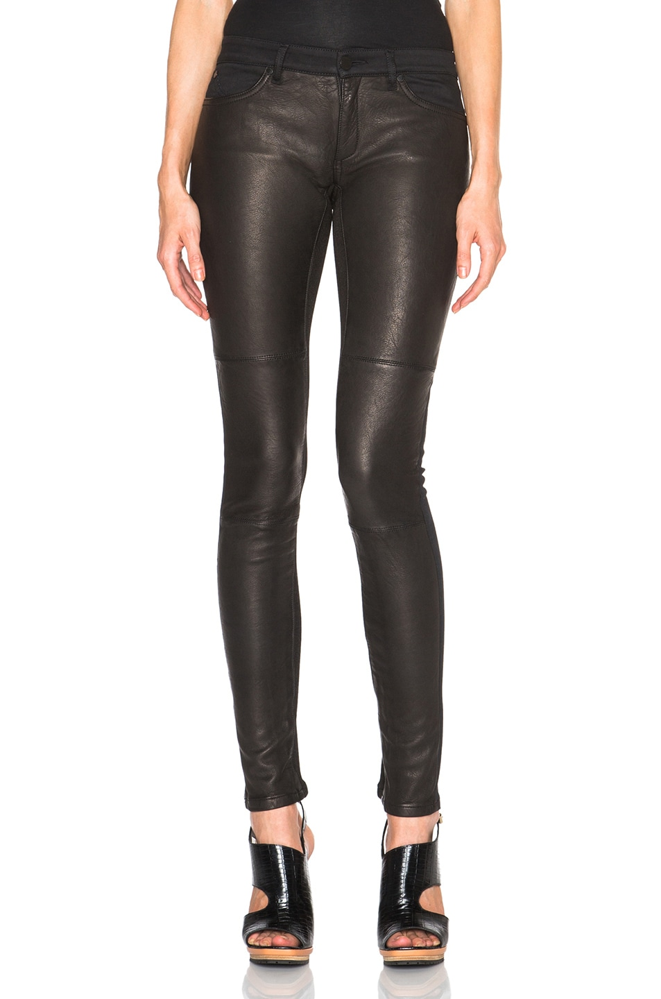 Image 1 of Superfine Flash Friend Leather Jeans in Black