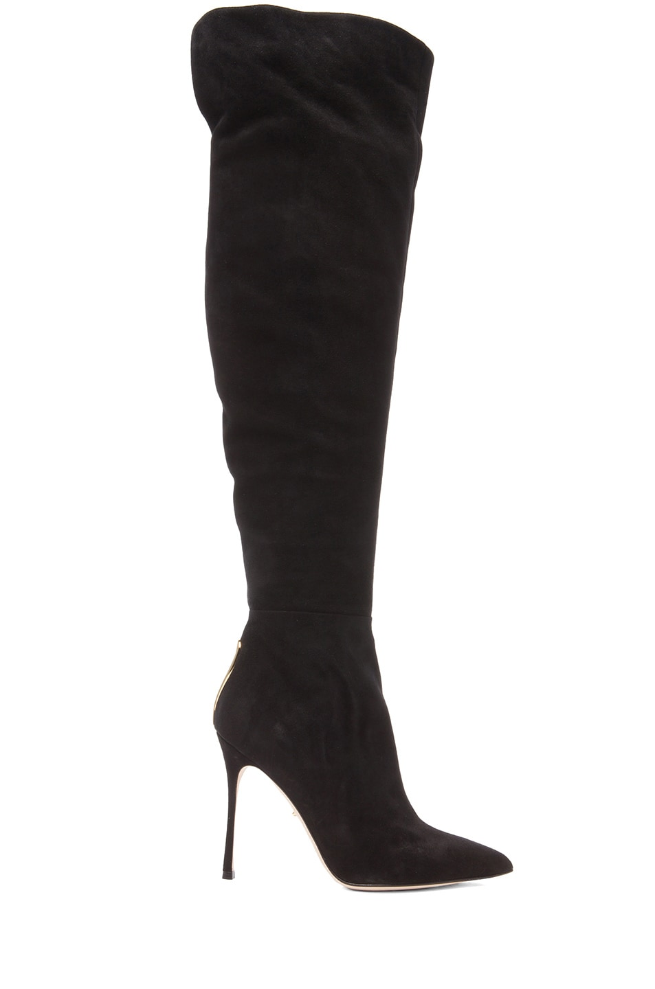 Image 1 of Sergio Rossi Blink Suede Over The Knee Boots in Nero