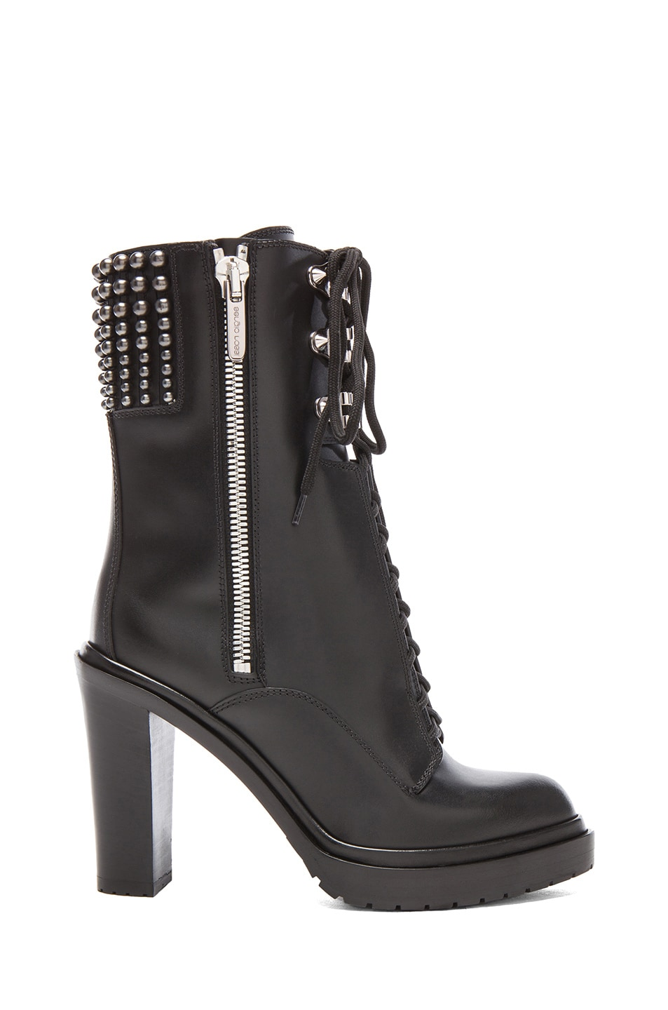 Image 1 of Sergio Rossi Rockstar Leather Booties in Nero