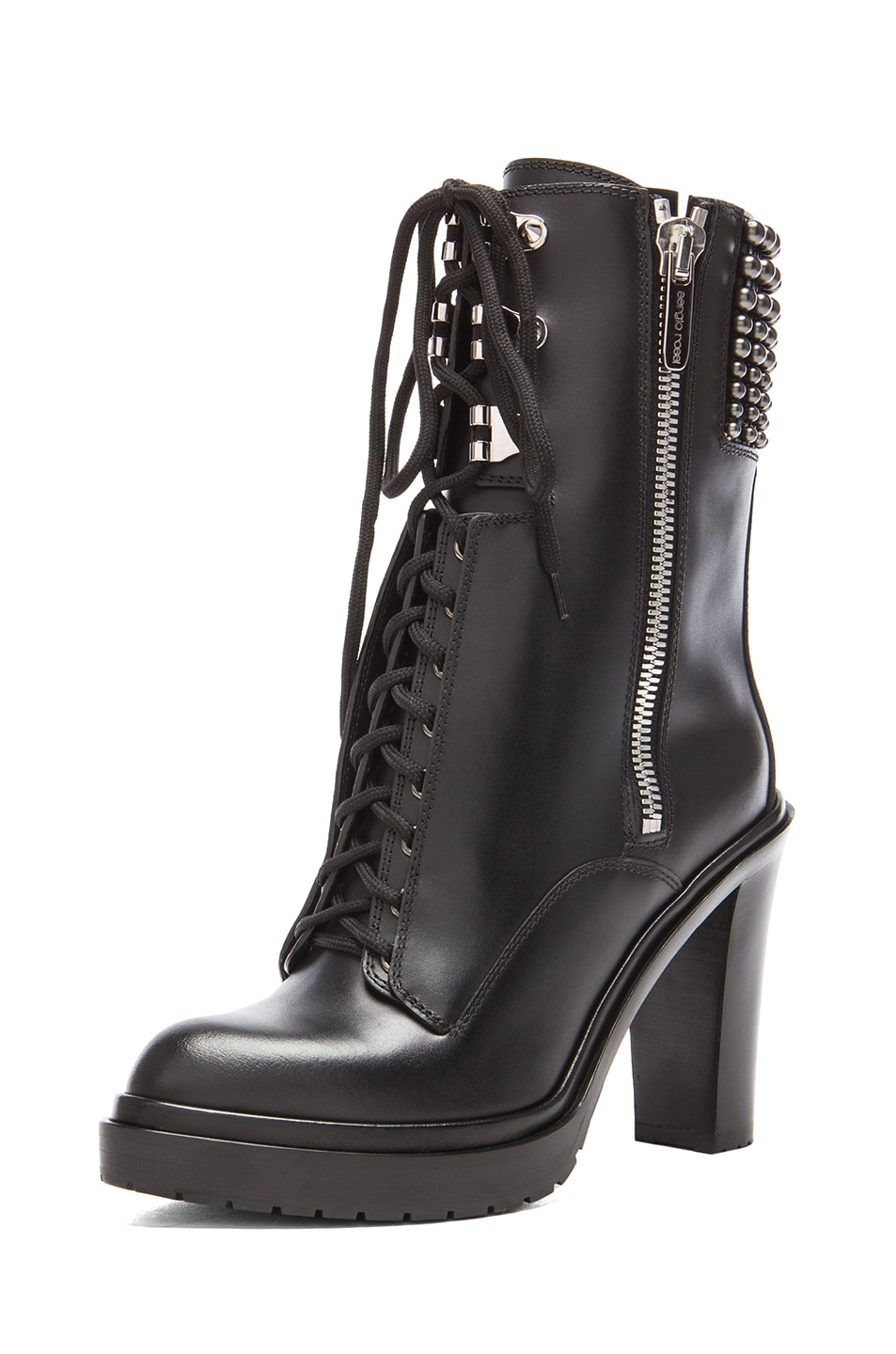 Image 2 of Sergio Rossi Rockstar Leather Booties in Nero