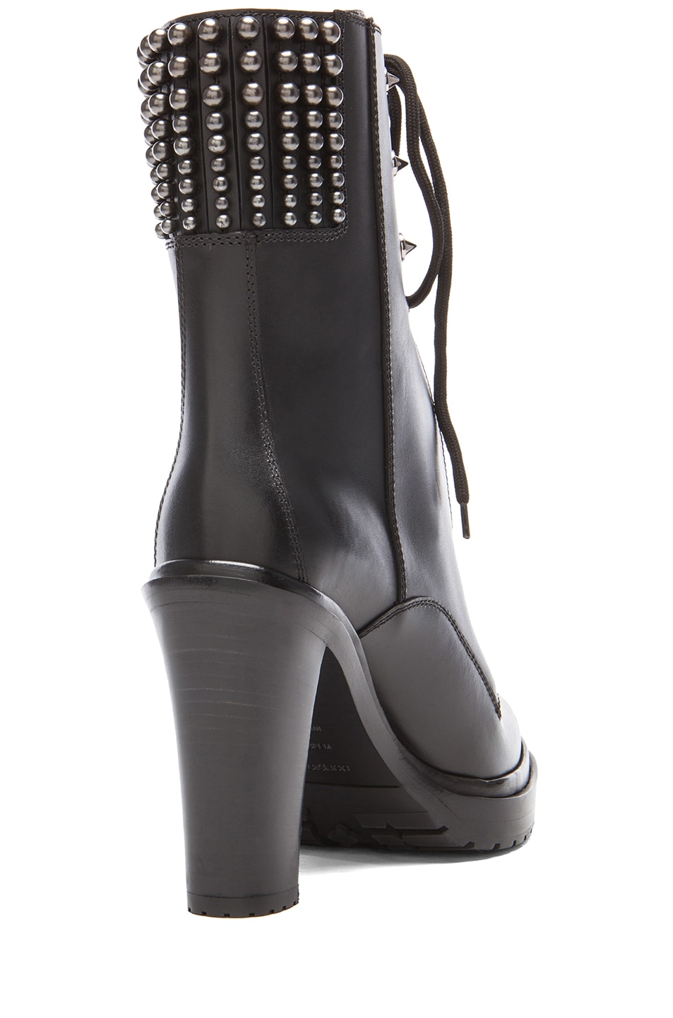 Image 3 of Sergio Rossi Rockstar Leather Booties in Nero