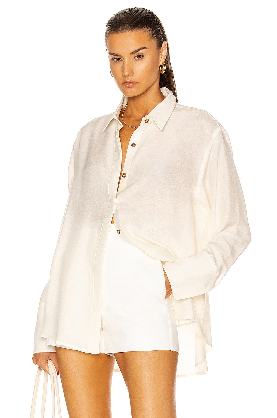 Image 1 of St. Agni Oriol Oversized Shirt in Ivory