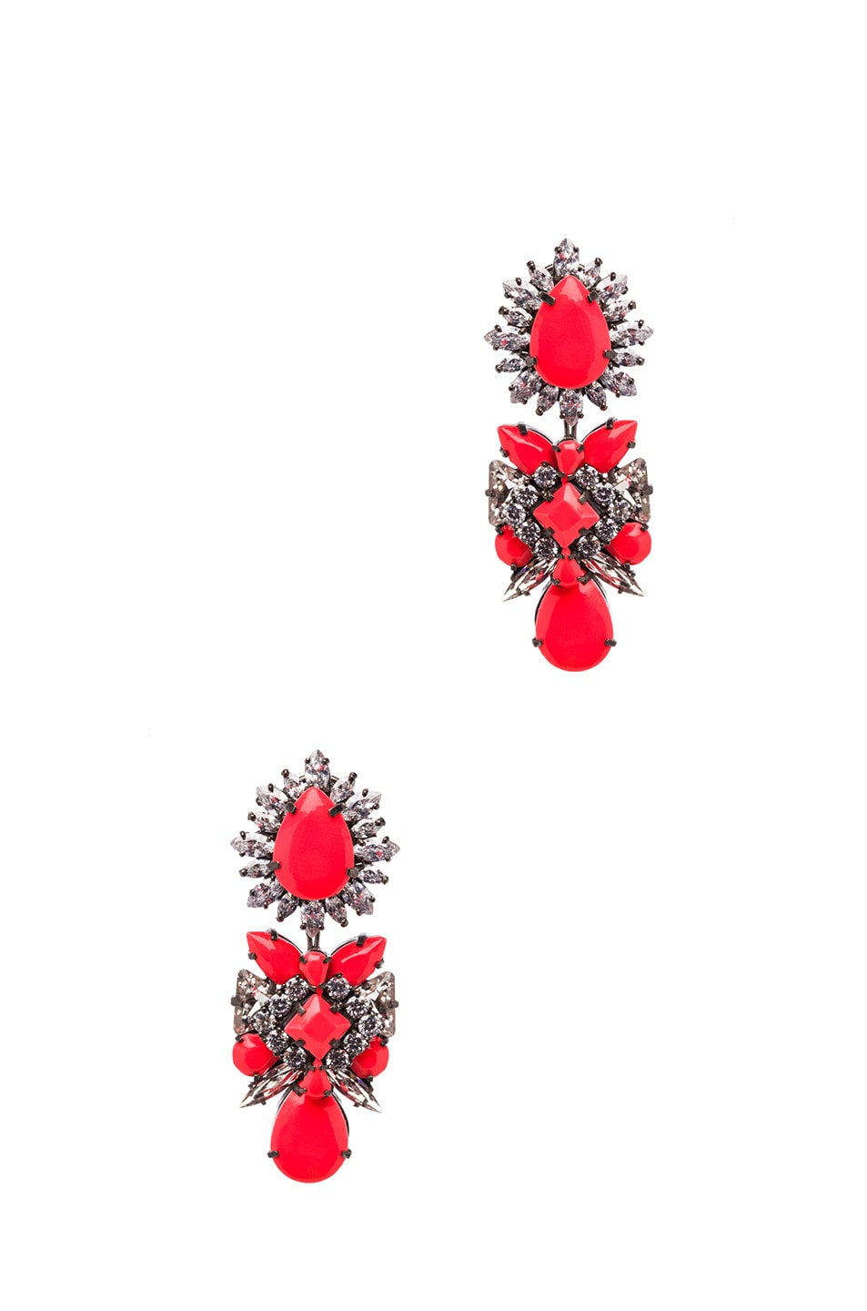Image 1 of Shourouk Blondie Antique Plated Earrings in Coral