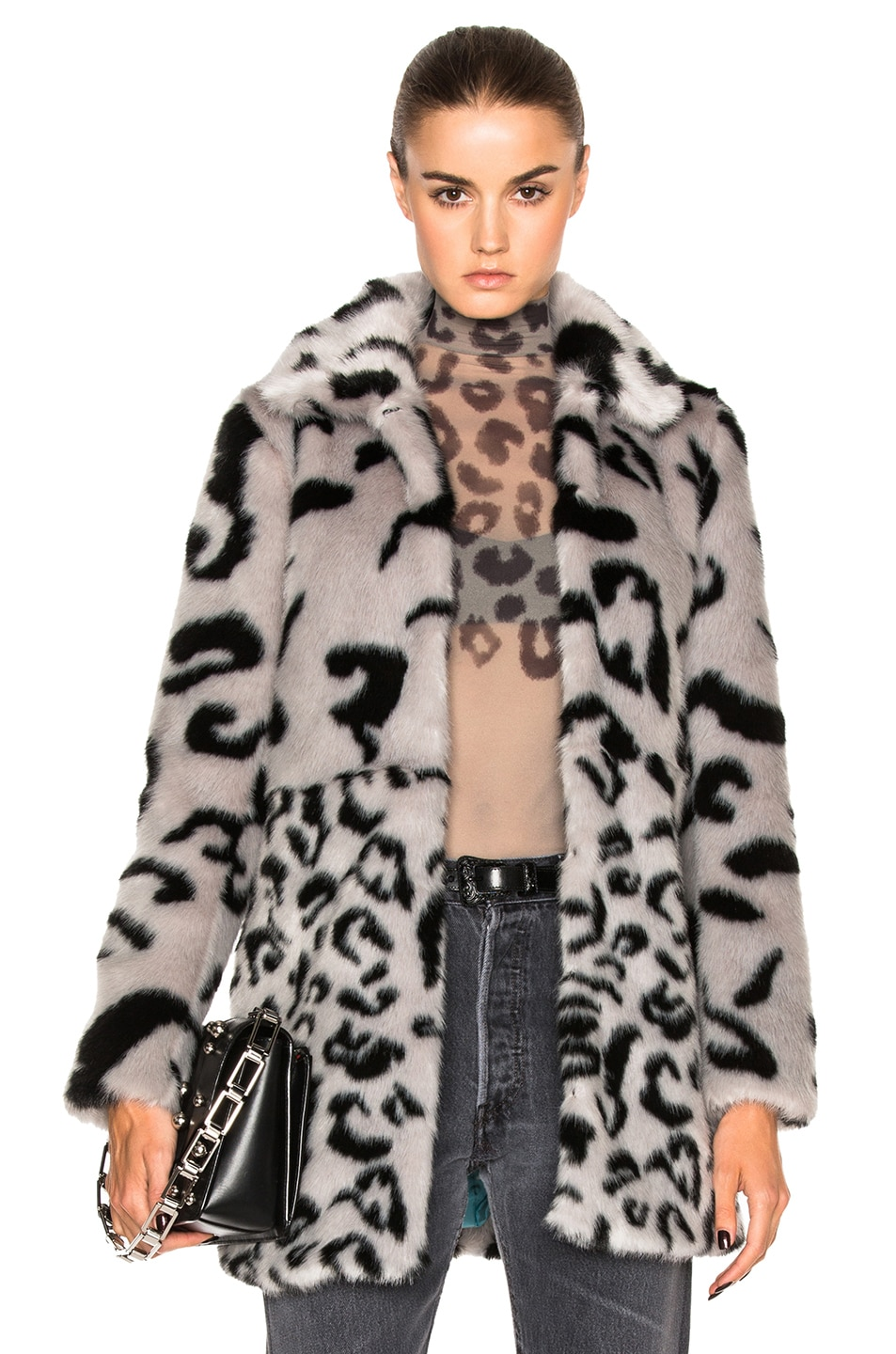 Image 1 of Shrimps Fayx Fur Lassie Coat in Silver & Black