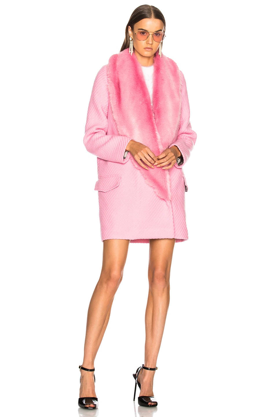 Image 2 of Shrimps Rory Coat With Faux Fur Trim in Sugar Mouse Pink