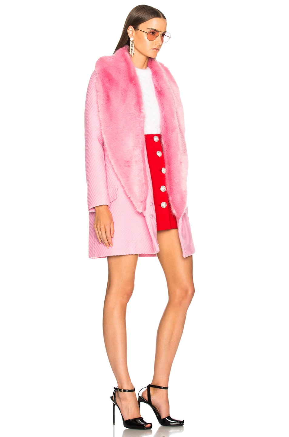 Image 3 of Shrimps Rory Coat With Faux Fur Trim in Sugar Mouse Pink