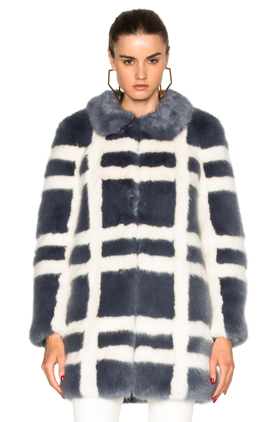 Image 1 of Shrimps Edith Faux Fur Coat in Flint & Cream