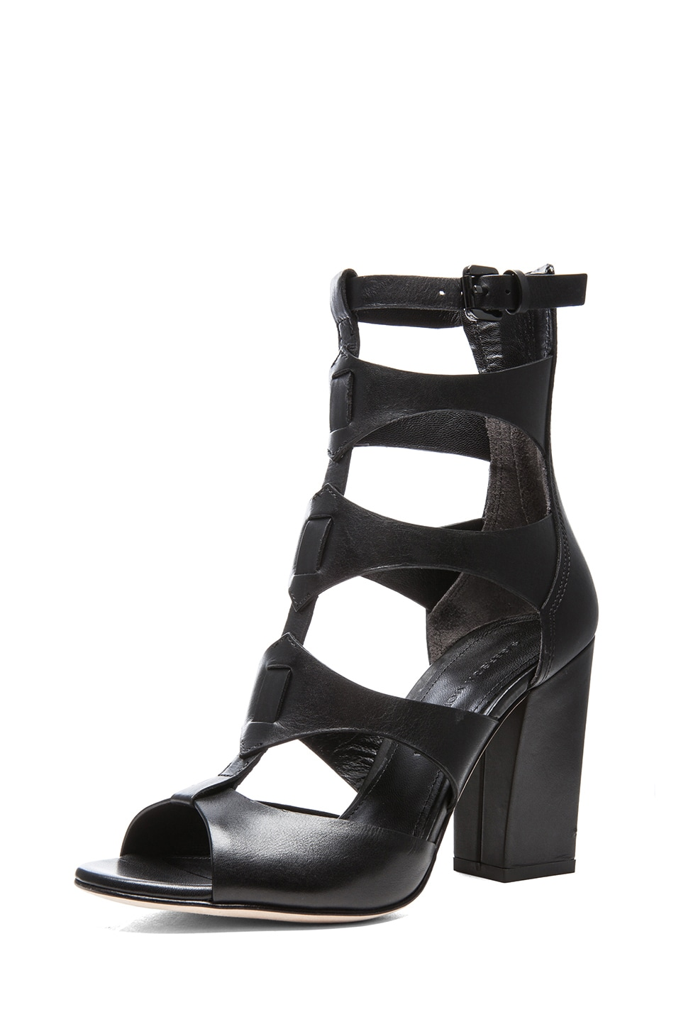 Image 2 of Sigerson Morrison Leather Vachael Heels in Black