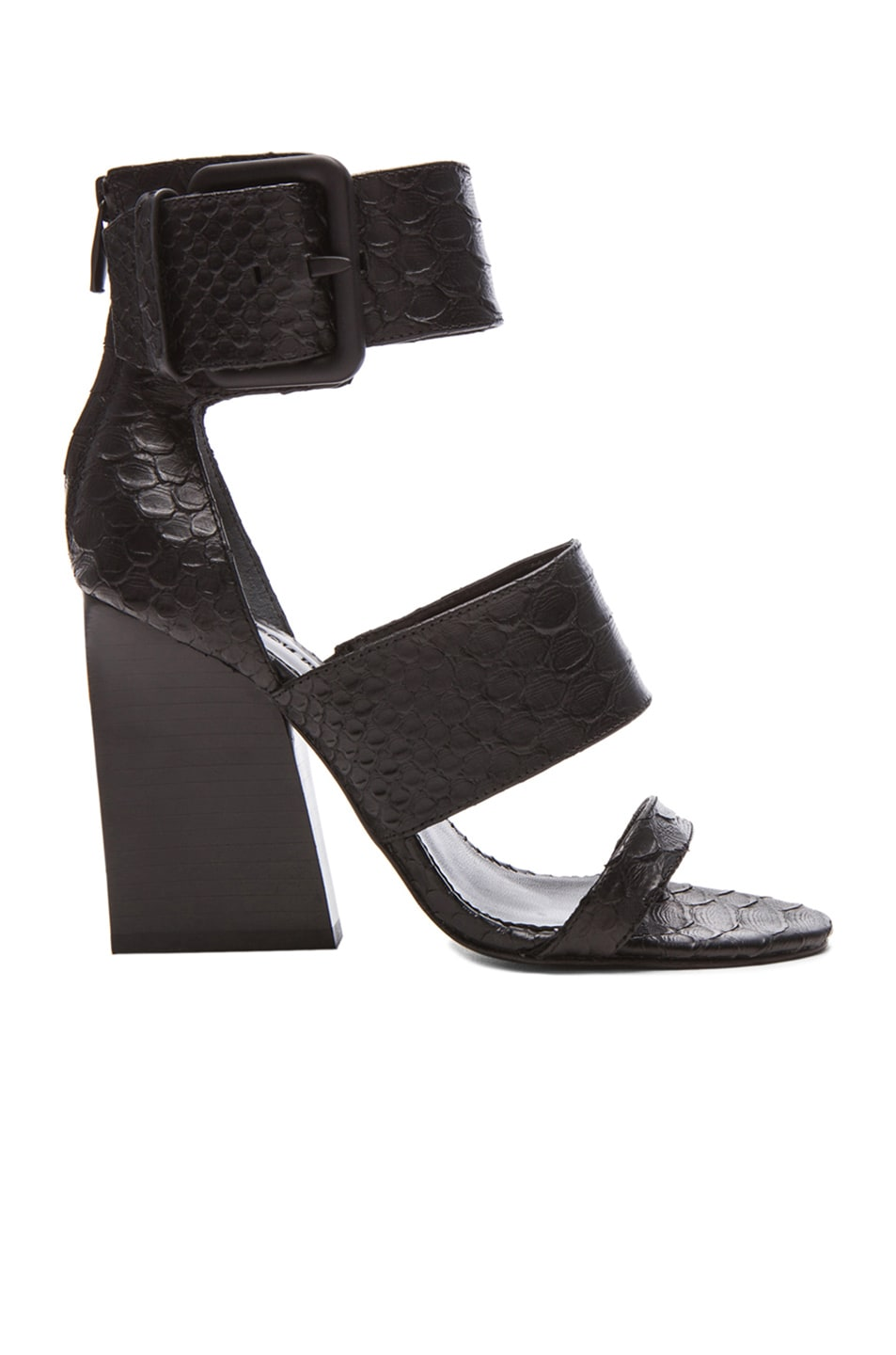 Image 1 of Sigerson Morrison Poker 2 Snake Embossed Leather Sandals in Black