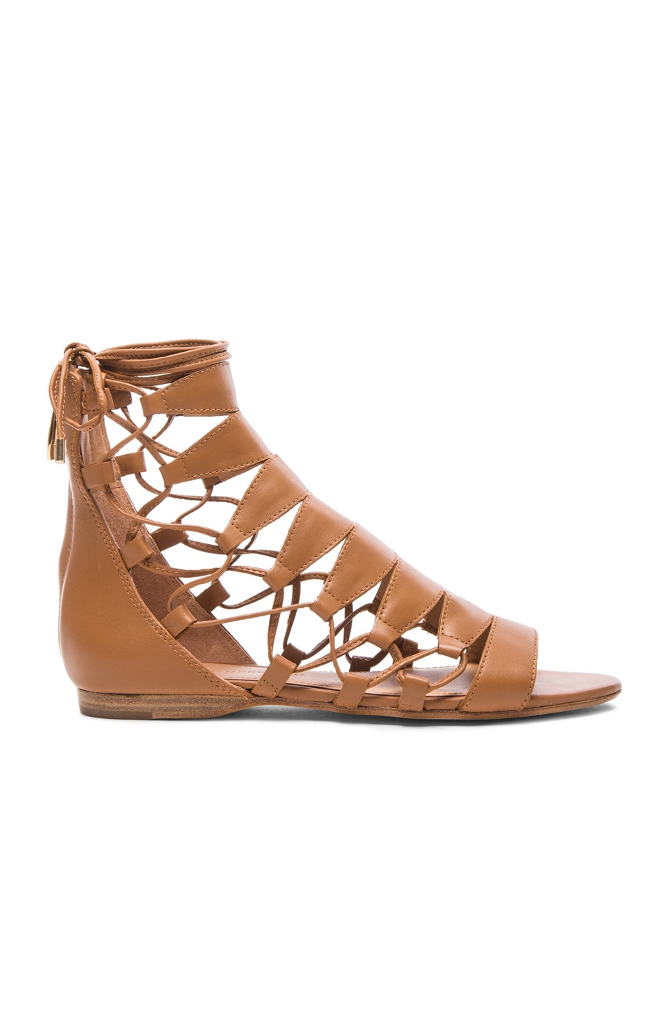 Image 1 of Sigerson Morrison Adal Lace Up Leather Sandals in Cuoio