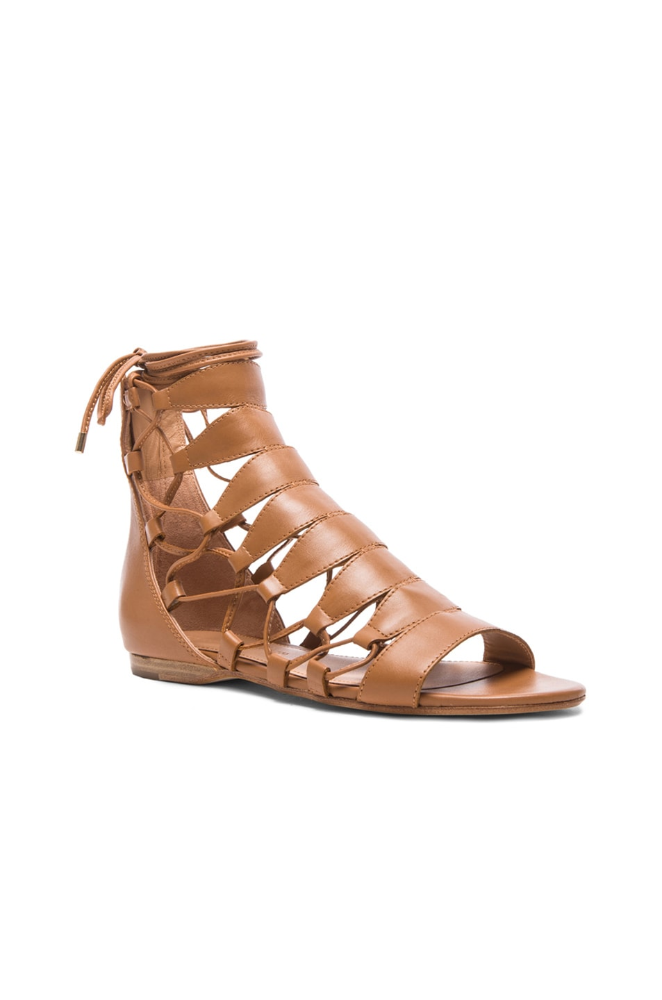 Image 2 of Sigerson Morrison Adal Lace Up Leather Sandals in Cuoio