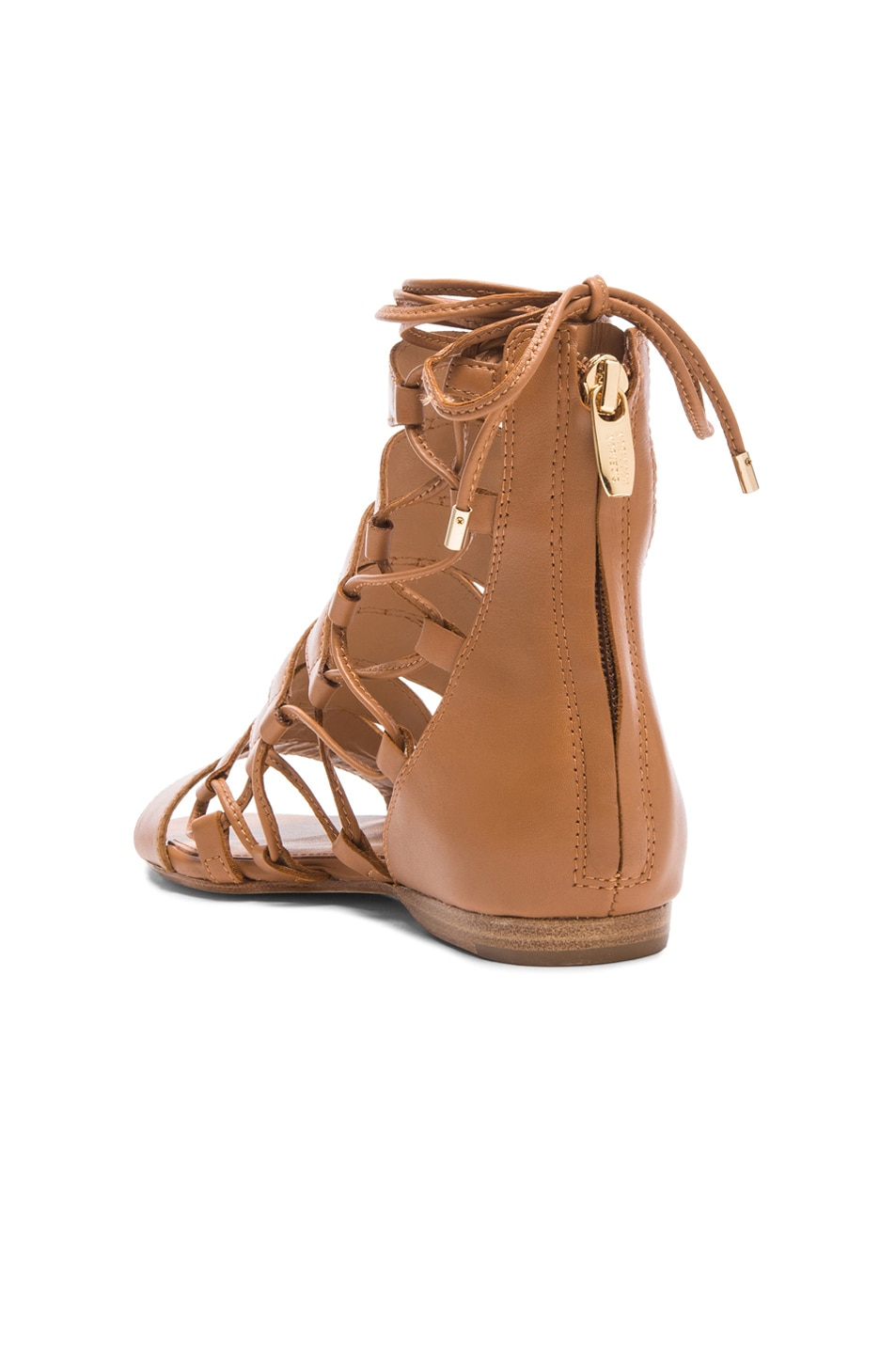 Image 3 of Sigerson Morrison Adal Lace Up Leather Sandals in Cuoio