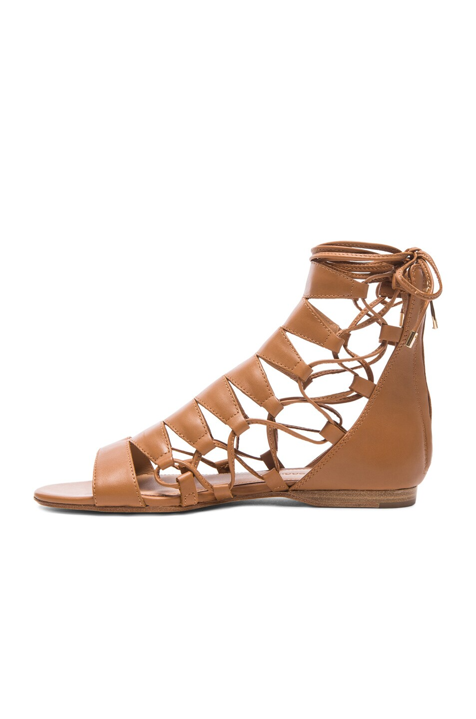 Image 5 of Sigerson Morrison Adal Lace Up Leather Sandals in Cuoio
