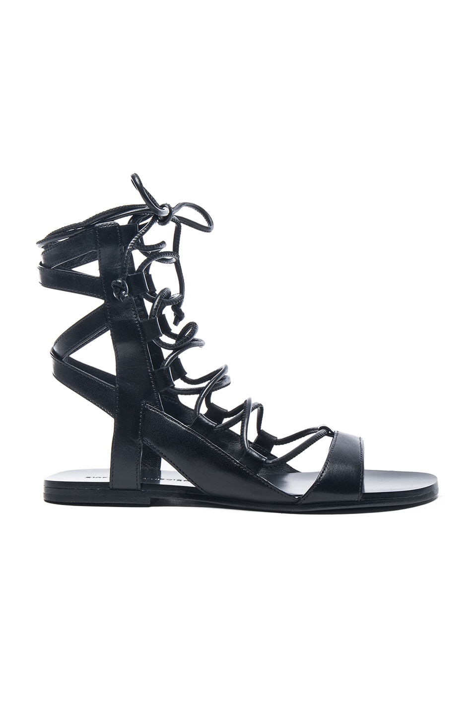 Image 1 of Sigerson Morrison Leather Bunny Sandals in Black