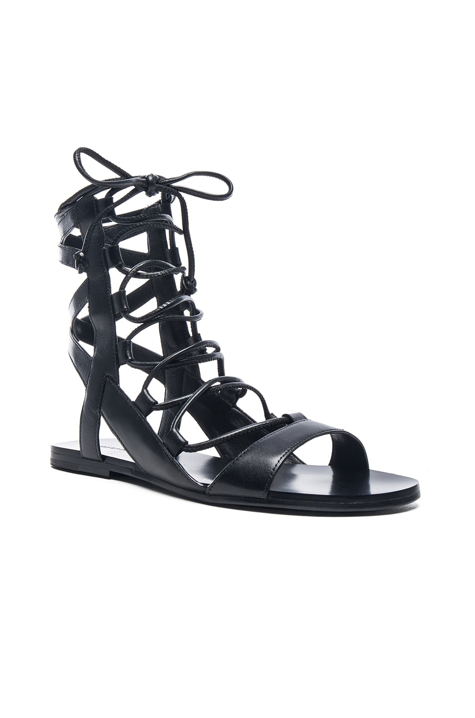 Image 2 of Sigerson Morrison Leather Bunny Sandals in Black