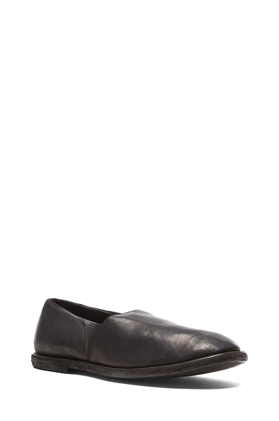 Black Leather Slip-On Loafers Guidi