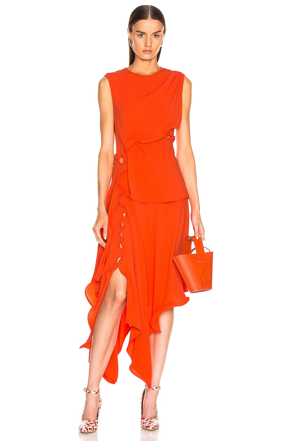 Image 1 of Sies Marjan Helena Ruffle Asymmetrical Full Dress in Blood Orange