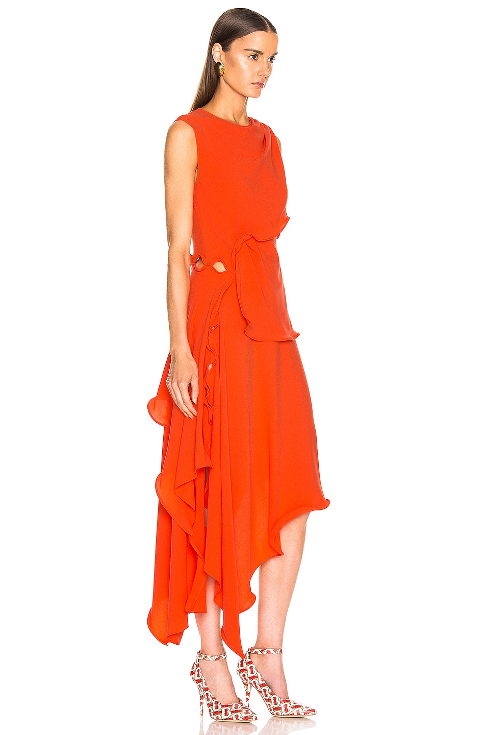 Image 2 of Sies Marjan Helena Ruffle Asymmetrical Full Dress in Blood Orange