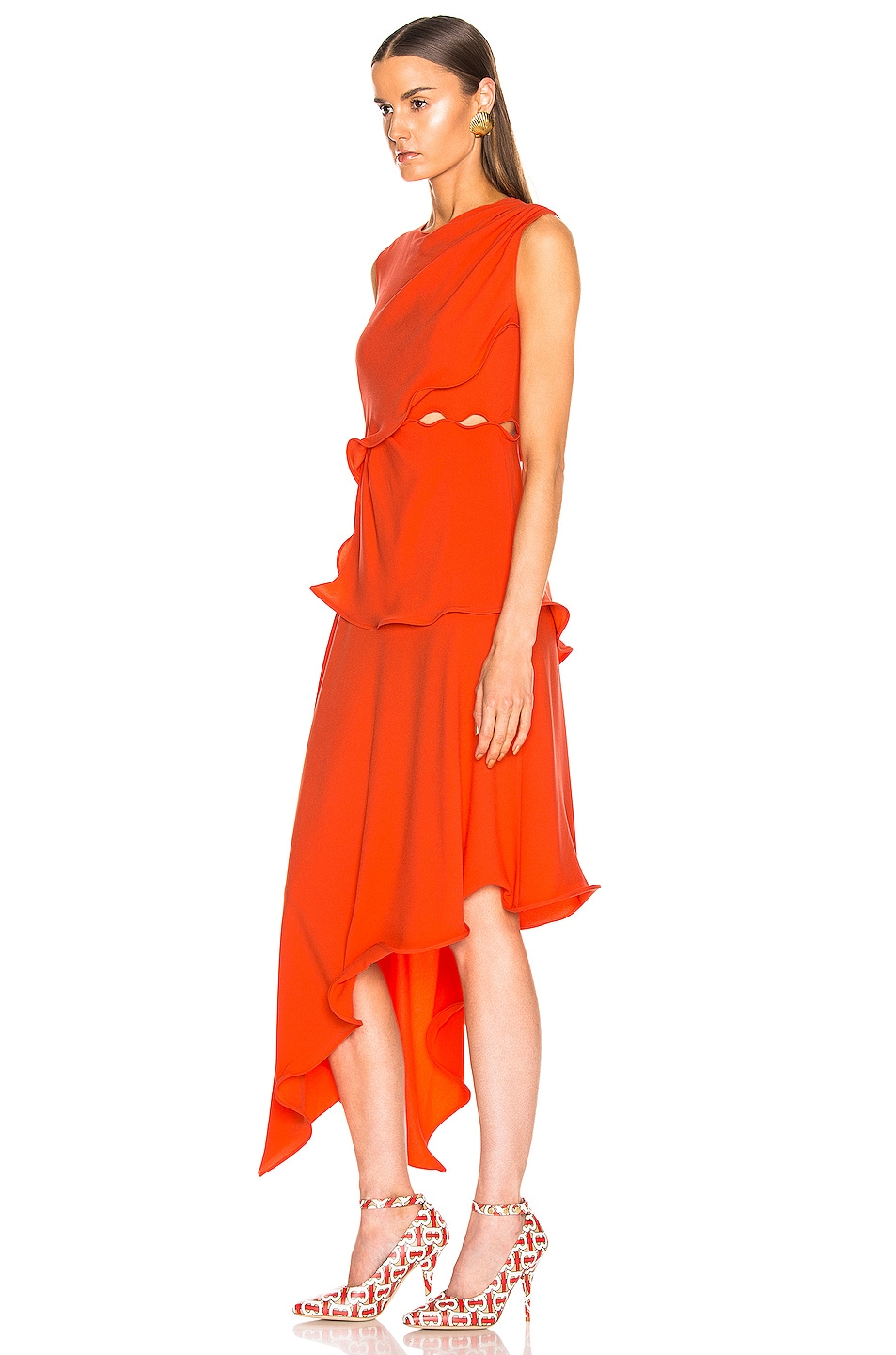 Image 3 of Sies Marjan Helena Ruffle Asymmetrical Full Dress in Blood Orange