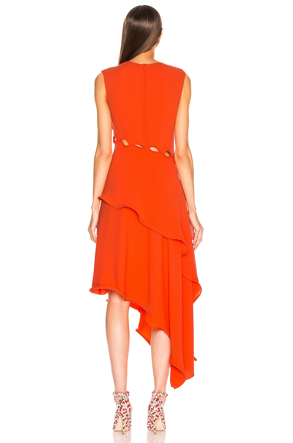Image 4 of Sies Marjan Helena Ruffle Asymmetrical Full Dress in Blood Orange