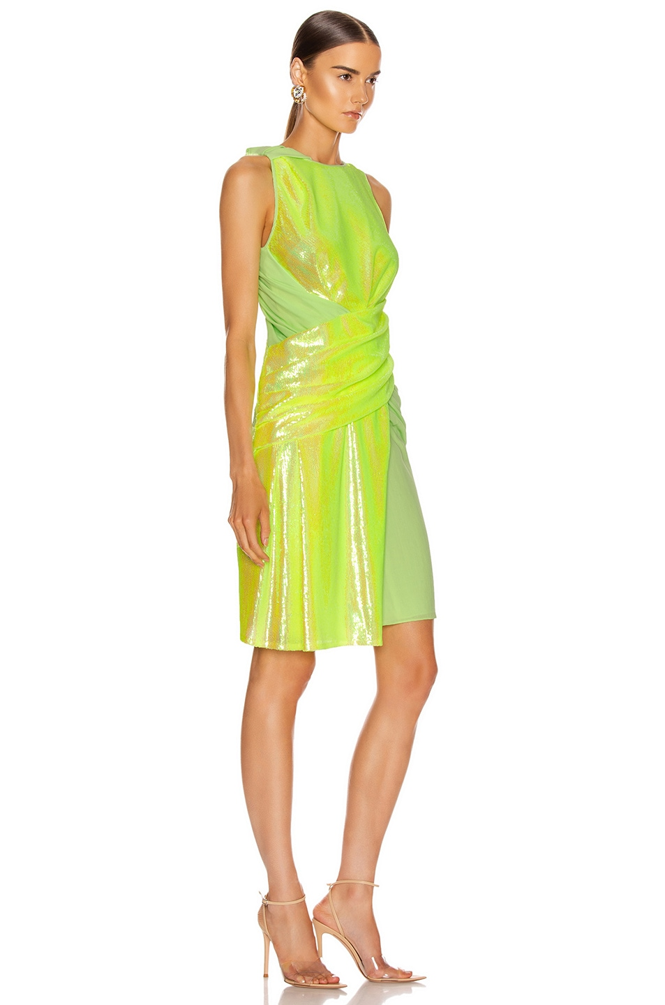 Image 2 of Sies Marjan Quincy Wrapped Dress in Fluo Yellow